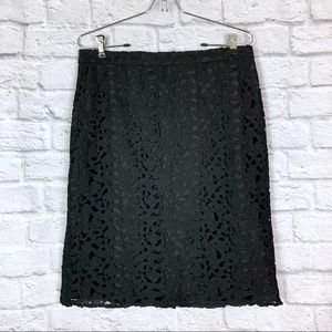 J. Crew Pencil Skirt size 6 Black Lace